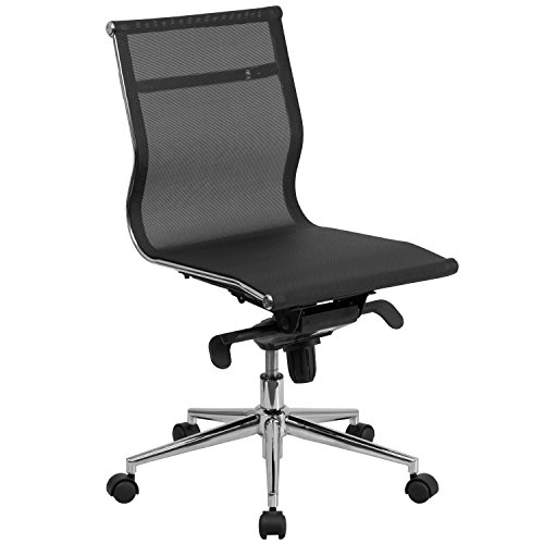 Flash Furniture Mid-Back Transparent Black Mesh Executive Swivel Chair with Synchro-Tilt Mechanism