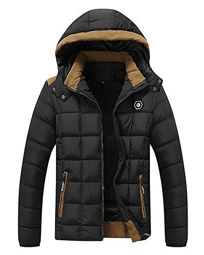 Black Hood Qulited Removable Lined Jacket Thicken With LaoZan Men's Coat Fleece Winter ZTPpHH