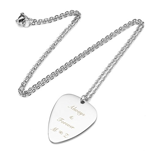 PiercingJ Personalized Custom Engraved Name Necklace Guitar Pick Initial Alphabet Pendant Necklaces with Chain Silvery for Family and Best Friend