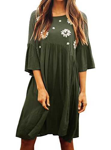 Faisean Women Embroidered Floral Bohemian 3/4 Bell Sleeve Vintage Mexican Casual Swing Tunic Midi Dress (Medium, Army Green)