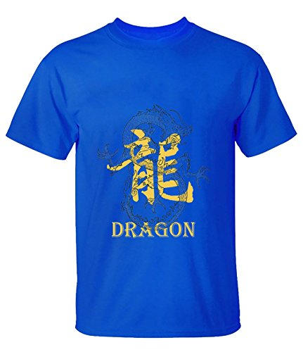 HappyAnimal Men Traditional Chinese Dragon and the Dragon Graphics Tee L for Men blue