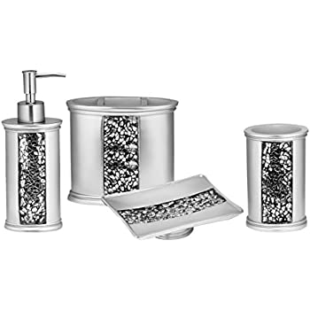 sweet home collection 5 piece bathroom accessory set sinatra silver home kitchen. Black Bedroom Furniture Sets. Home Design Ideas