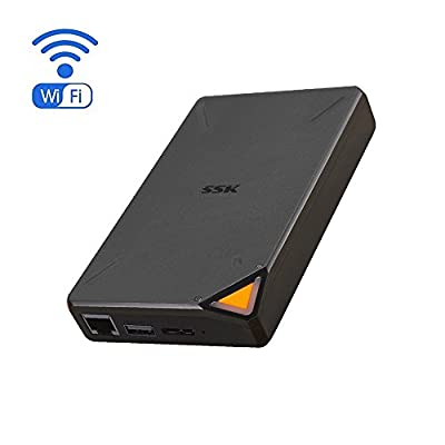 SSK Portable Wireless Hard Drive Smart Storage 1TB Personal Cloud Storage 2.4GHz WiFi External Hard Drives, with Personal Wi-Fi Hotspot, Support Remote Access by SSK