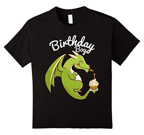 Kids Birthday Boy Dragon Theme T-shirt Cupcake Candle Fire 4 Black