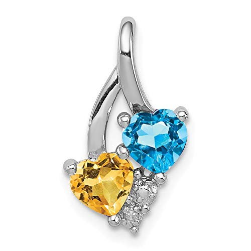 Solid 925 Sterling Silver December Simulated Birthstone Blue Simulated Topaz Golden Yellow Orange Simulated Citrine Diamond Pendant (.01 cttw.) (17mm x -