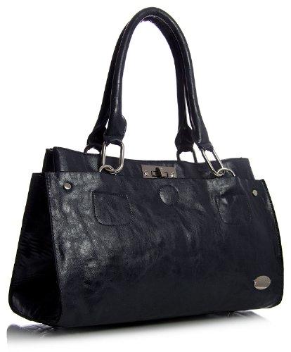 Big Handbag Shop lo donna spalla borsa in ecopelle Nero (nero)