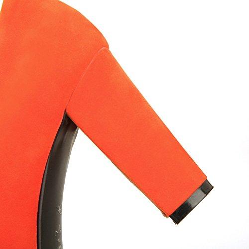 Balamasa Dames Stevige Hakken Platform Pull-on Suède Pumps-schoenen Oranje