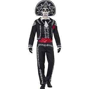 Amakando Traje Hombre Fiesta de los Muertos Disfraz Día de los Muertos XL 56/58 Caracterización La Catrina Mexicana Traje Mariachi Hombre Atuendo Halloween Outfit Calavera Noche de Brujas