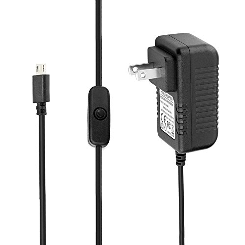 IBERLS USB Micro Charger DC 5V 3A (3000mA) Power Supply AC Adapter for Raspberry Pi 3, Raspberry Pi 2, Raspberry Pi 3 Model B+ (with Switch, 5ft Power Cord)