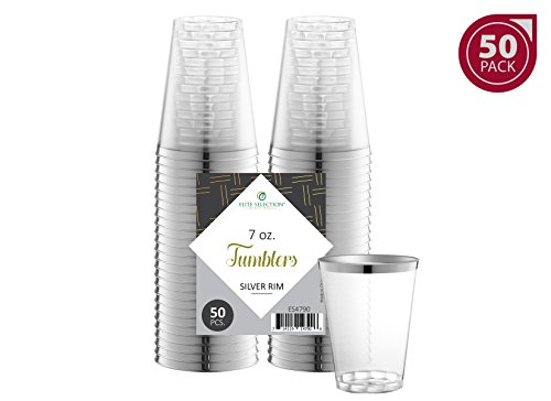 Elite Selection 50 Count 7 Oz. Disposable Hard Party / Wedding Plastic Cups / Tumblers With Silver (Wedding Plastic Cups)
