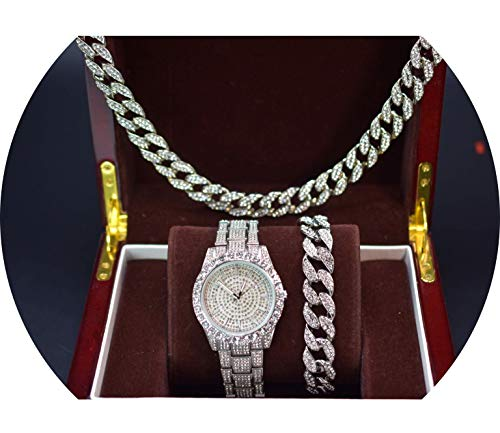 14k White Gold Plated Iced Out Techno Pave Men Watch, Cuban Chain & Bracelet Set (All of Them)