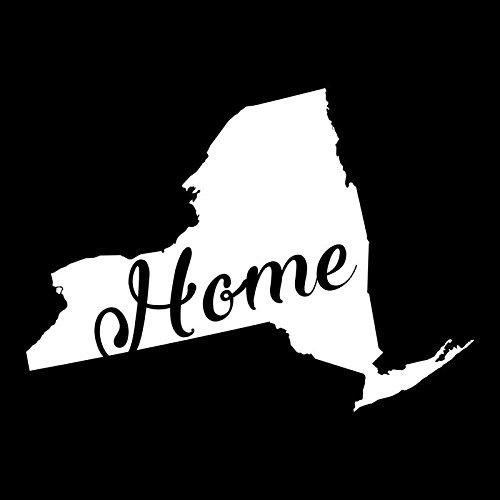 New York Home State Vinyl Decal Sticker | Cars Trucks Vans Walls Windows Laptops Cups | White | 5.5 X 3.9 | KCD1946 ()
