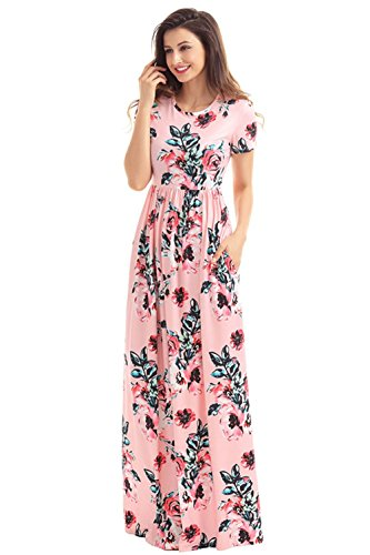 Women's Short Sleeve Maxi Dress Floral Print Loose Swing Casual Long Dresses with Pocket
