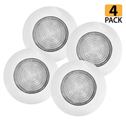 [4-Pack] 6 White Metal Shower Trim with Fresnel Glass Lens - for Wet Locations - for 6 Recessed Can Lights - UL Listed (White-Fresnel (4-Pack))