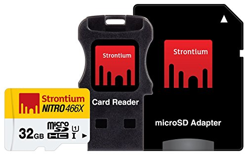 Strontium Nitro 32GB MicroSDHC UHS-I Memory Card with Adapter and Card Reader Up to 70MB/s (SRN32GTFU1C)