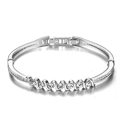 - Menton Ezil Snow White Series Bangle Bracelet Womens Fashion Jewelry with AAA Cubic Zirconia Crystal (White)