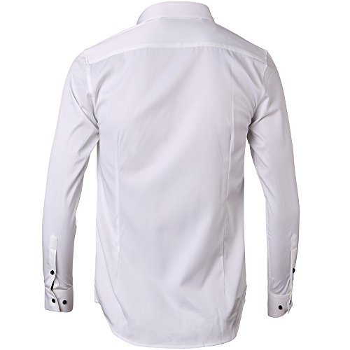 Men's Bamboo Fiber Dress Shirts Slim Fit Solid Long Sleeve Casual Button Down Shirts, Elastic Formal Shirts for Men,White Shirts,17″Neck 35.5″Sleeve