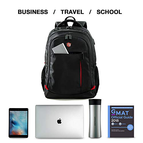 41CqWnw9sKL - Laptop Backpack, Travel Waterproof Computer Bag for Women Men, Anti-theft High School College Bookbag, Business Fashion Backpacks with USB Charging Port Fits 15.6inch Laptop&Notebook, Black