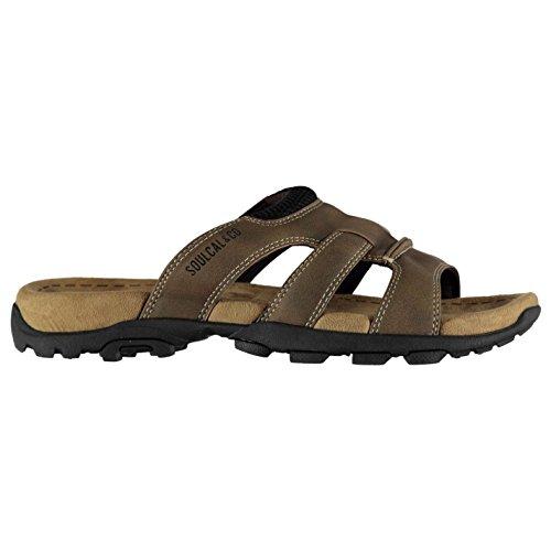 Soul Cal Mens Lounge Flat Sandals Brown ey1Z185