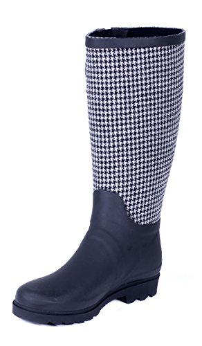 Forever Young Couture Women Rubber Black & Gray Houndstooth Rain Boots 9 (12' Gray Boots)