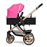 ZCY Pushchairs,One Hand Fold 4 Wheel Pushchair with Mosquito Net, from Birth to 22 Kg (Color : Pink)