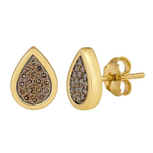 Jewelili femme  Argent 925/1000  Argent|#Silver Rond   Marron Diamant