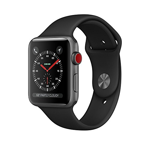Apple Watch Series 3 38mm Smartwatch (GPS + Cellular, Space Gray Aluminum Case, Black Sport Band) (Renewed) Cell Phone Watch Verizon