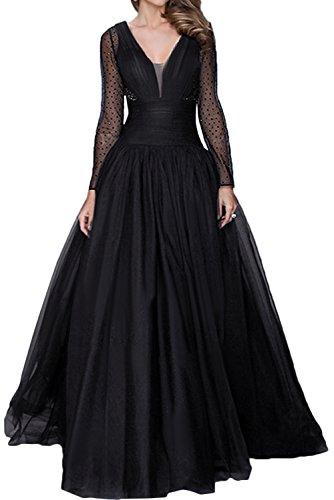 Toskana novia of Cake hombro libre gasa Noche de punta para ropa largo novia Party Ball negro