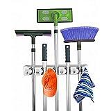 AOBRITON Kitchen Bathroom Tool Organizer Umbrella Stand Wall Mounted Broom Holder Anti-Slip Wall Shelf