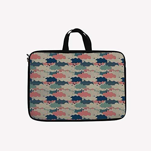 3D Printed Double Zipper Laptop Bag,Set Monsoon Air in Atmosphere Meteorology,17 inch Canvas Waterproof Laptop Shoulder Bag Compatible with 17