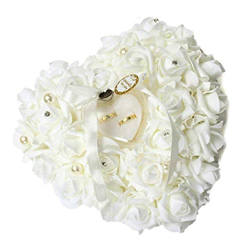 mossty Wedding Ring Pillow,Rose Heart Ring Box Wedding Accessories White Ring Pillow Wedding Lace Crystal by mossty (Image #1)