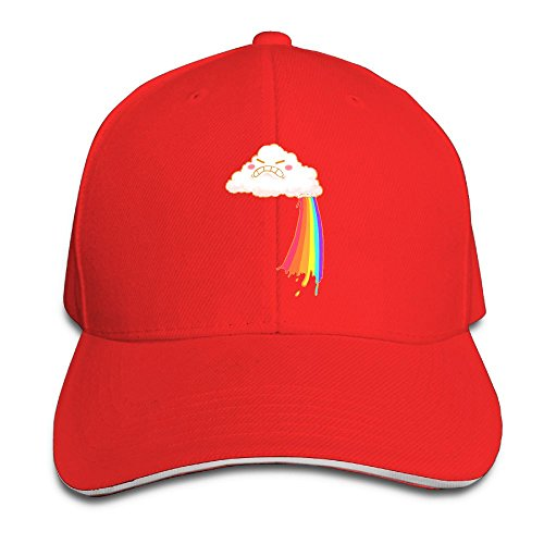 Mokjeiij Angry Cloud Makes Rainbows Black Baseball Cap, Adjustable Spire Trucker Cap.