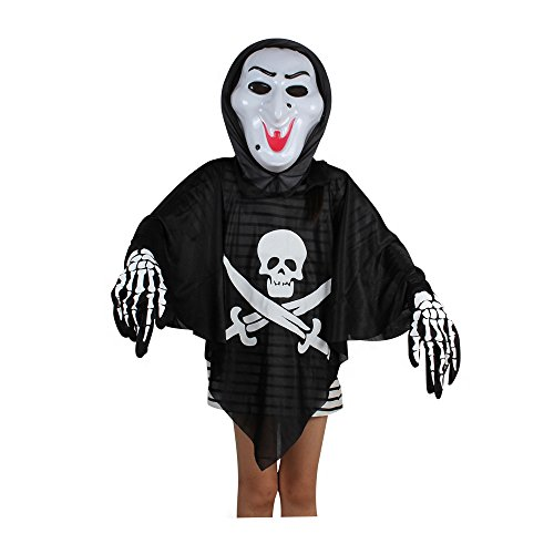 Absolutely Perfect Kids Black Evil Spirit Ghost Hooded Cloak Dress Scary Mask Child Cape Costume For Halloween Witch One Size