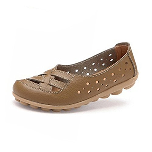 Hattie Women Soft Leather Hollow Slip-on Loafers Moccasins Sandals Kahaki QTRnr