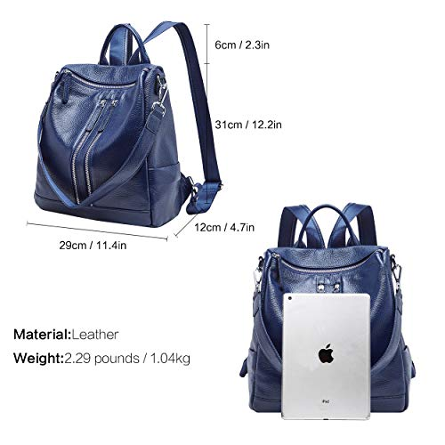 03 Bag BOYATU Cream for Blue Backpack Rucksack Large Travel Daypack Women Fashion Leather Purse xffOSwqF0