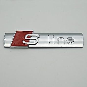 2Pack SLINE 3D Metal Car Emblem Badge Sticker Replacement For A4 A6 A8 Q5 Q7 Tt Matt silver