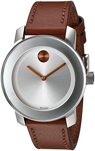 Movado Women s Swiss Quartz Stainless Steel and Leather Watch, Color Brown Model 3600379