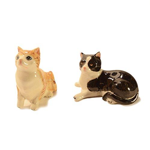 CinMin Handpainted Ceramic Cat Figurine 2-Piece Stoneware Set, 3 ()