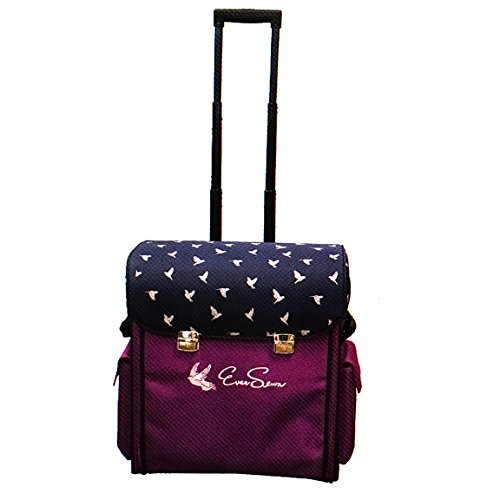 EverSewn Purple and Navy-Blue Rolling Machine Trolley by Ever Sewn