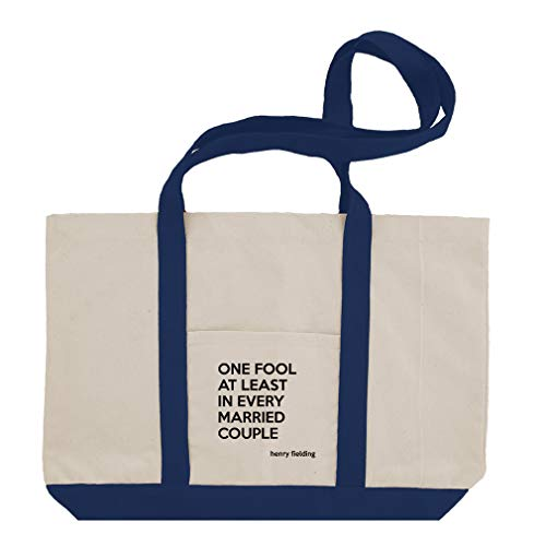 One Fool At Least In Every Married Couple (Henry Fielding) Cotton Canvas Boat Tote Bag Tote - Royal Blue by Style In Print
