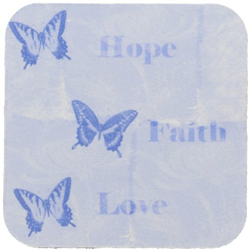 3dRose cst_79334_2 Inspired Blue Butterflies Hope, Faith and Love Soft Coasters, Set of 8 by 3dRose