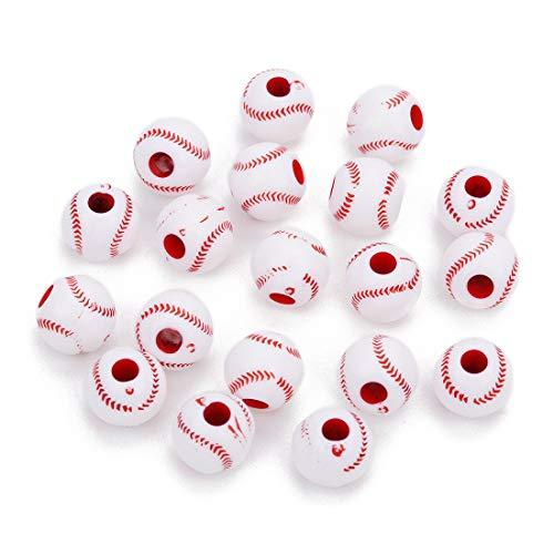 R STAR 100 Pcs Baseball Beads 12mm Sports Pony Beads]()