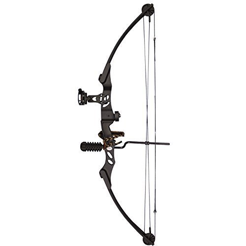 Siege SAS 55 lb 29'' Compound Bow w/ 5-Spot Paper Target, Black w/Package (Sas Siege 55 Lb 29 Compound Bow)