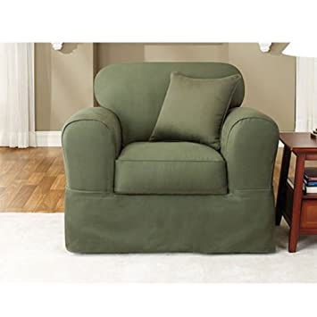 Awesome Sure Fit Twill Supreme 2 Piece Chair Slipcover, Loden