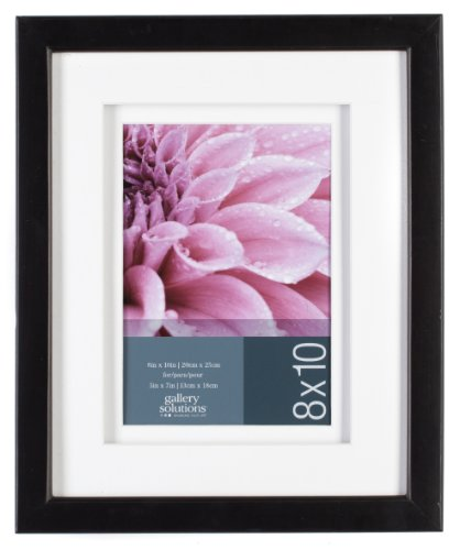 GALLERY SOLUTIONS Black Wood Frame with White Double Mat Opening