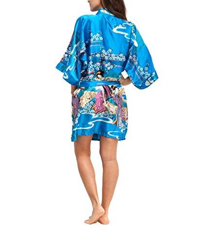 Peignoir Chambre Court Acvip Bleu Couleurs De Femmes 5 Soie Imprimé Artificielle Robe ZWwq5pSq