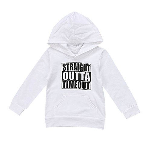 0-7 Years Baby Sweatshirt Clothes,Toddler Outfits Kids Boy Letter Hoodie Tops Coat Outerwear (4T, White 2) ()