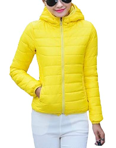 Yellow Mini Women Hoodie Coat Howme Warm Short Solid Fitted Zipper Slim Duffle Color gqOwRH7