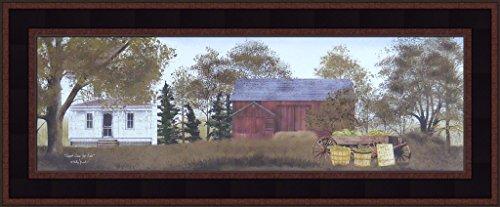 by Billy Jacobs Farm Barn Wagon Folk Art Country Print 9x21 Wall Décor Framed Picture ()