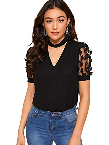 SheIn Women's V Neck Choker Short Sleeve Junior Tops Teen Girls Graphic Tees Large Mesh Sleeve Black ()